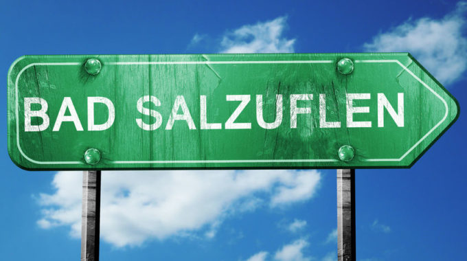 56014937 - Bad Salzuflen Road Sign, On A Blue Sky Background